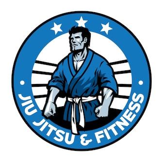 Disegno distintivo di arti marziali di jiu jitsu isolato su bianco