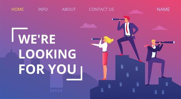 Lavoro vacante di affari, illustrazione. ricerca persona per carriera, occupazione persone, cerca candidato. responsabile del reclutamento, colloquio umano e uomo d'affari. reclutamento dei dipendenti.