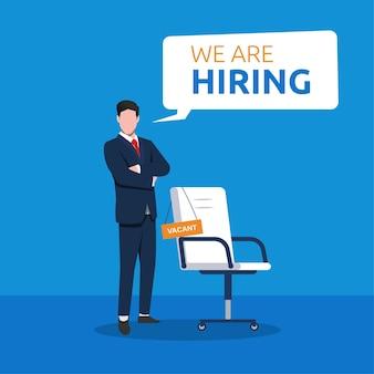 Assunzione di lavoro e concetto di reclutamento online con illustrazione di simbolo di uomo d'affari e sedia.