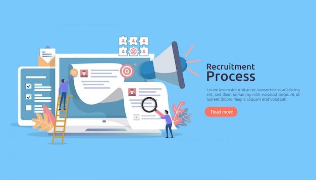 Assunzione di lavoro, assunzione online con carattere di persone. colloquio di agenzia. seleziona riprendi processo.