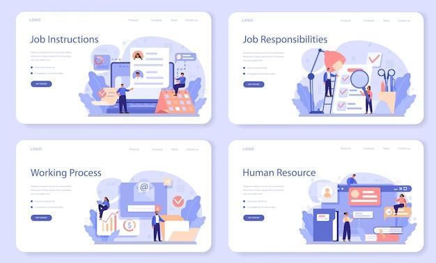 Insieme di web dell'insegna di istruzione di lavoro