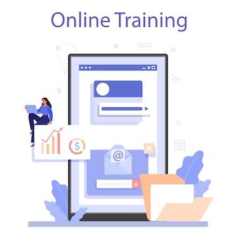 Servizio o piattaforma online di istruzione di lavoro. gestione personale.