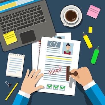 Concetto di colloquio di lavoro con curriculum cv aziendale. design piatto