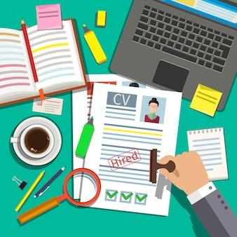 Concetto di colloquio di lavoro con curriculum cv aziendale. design piatto, .