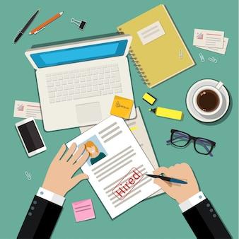 Concetto di colloquio di lavoro con curriculum cv aziendale.