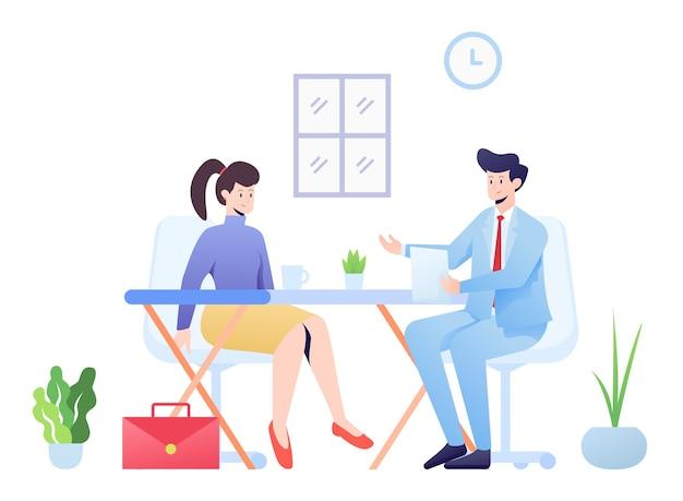 Illustrazione del colloquio di lavoro, un candidato intervistato dal manager.