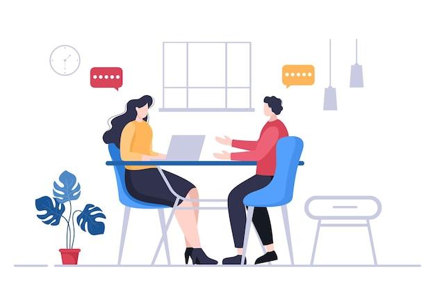 Colloquio di lavoro, candidato e responsabile delle risorse umane. idea di occupazione e assunzione, uomo d'affari o donna al tavolo, illustrazione vettoriale per conversazione, carriera, concetto di risorse umane