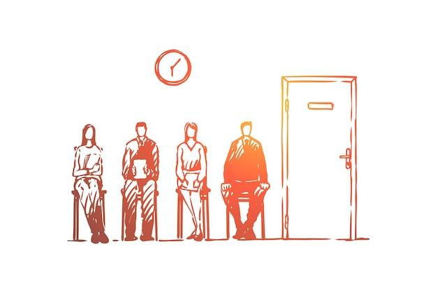 Coda di colloquio di lavoro, uomini e donne in vestiti convenzionali che si siedono nell'illustrazione del corridoio