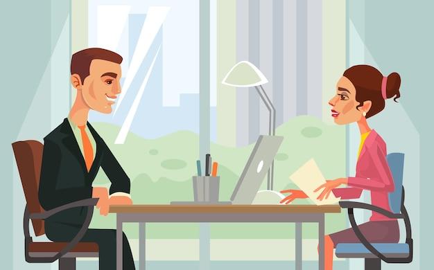 Illustrazione del fumetto dei caratteri dei lavoratori del colloquio di lavoro Vettore Premium