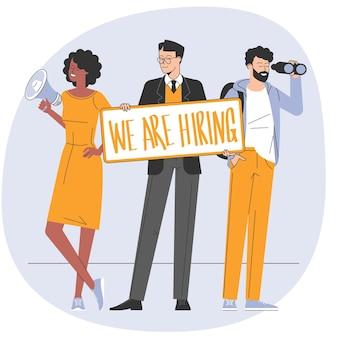 Team di reclutamento di lavoro in cerca di professionisti