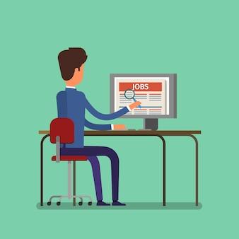 Concetto di ricerca di lavoro. uomo in cerca di lavoro su internet. design piatto, illustrazione vettoriale.