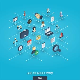 Icone di web 3d integrate di ricerca di lavoro. concetto di interazione isometrica della rete digitale.