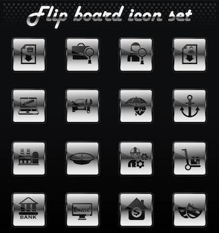 Icone meccaniche flip vettore di ricerca lavoro per la progettazione dell'interfaccia utente