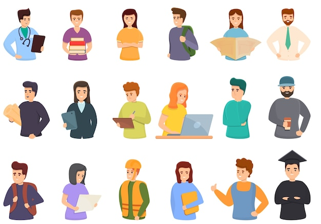 Set di icone di studenti di lavoro. icone di studenti di lavoro