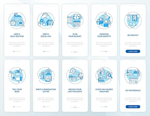 Schermata della pagina dell'app per dispositivi mobili per l'onboarding della transizione di lavoro impostata con concetti. suggerimenti per il cambio di lavoro procedura dettagliata 5 passaggi istruzioni grafiche.