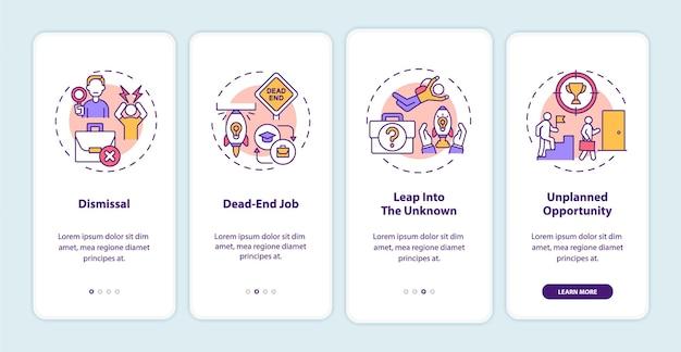 Motivi di transizione di lavoro onboarding schermata della pagina dell'app mobile con concetti
