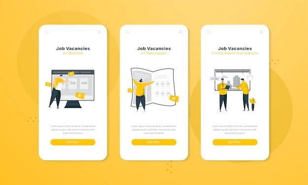 Illustrazione delle offerte di lavoro sul concetto di interfaccia dello schermo di bordo