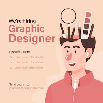 Modello di banner di offerte di lavoro per graphic designer