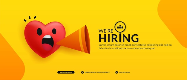 Banner di post di social media di posti vacanti di lavoro siamo uno sfondo con un concetto di annuncio di cuore carino