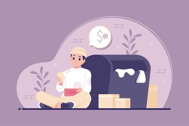 Priorità bassa dell'illustrazione di concetto del mendicante senza lavoro