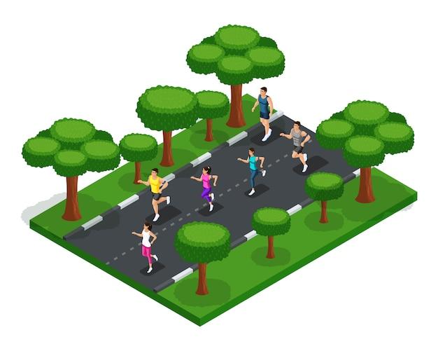 Fare jogging nel parco di giovani, uomini e donne, corsa mattutina, freschezza della natura, stile di vita sano