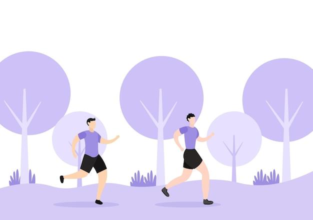 Fare jogging o correre sport illustrazione di sfondo uomini e donne per corpo attivo, stile di vita sano, attività all'aperto