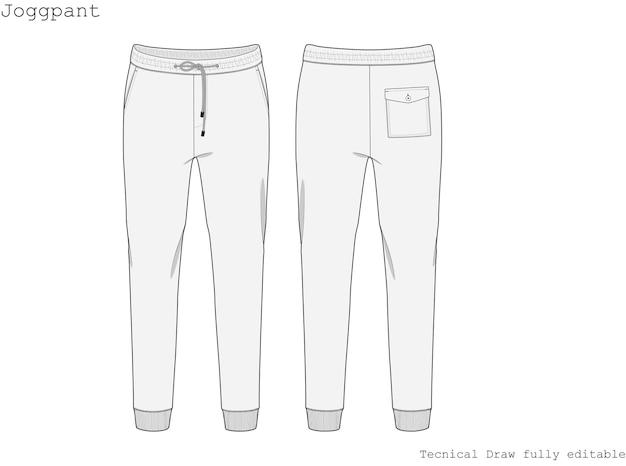 Pantalone da jogging tecnico hand draw