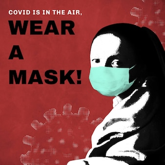 La giovane donna di johannes vermeer che indossa una maschera facciale durante la pandemia di coronavirus vettore remix di dominio pubblico