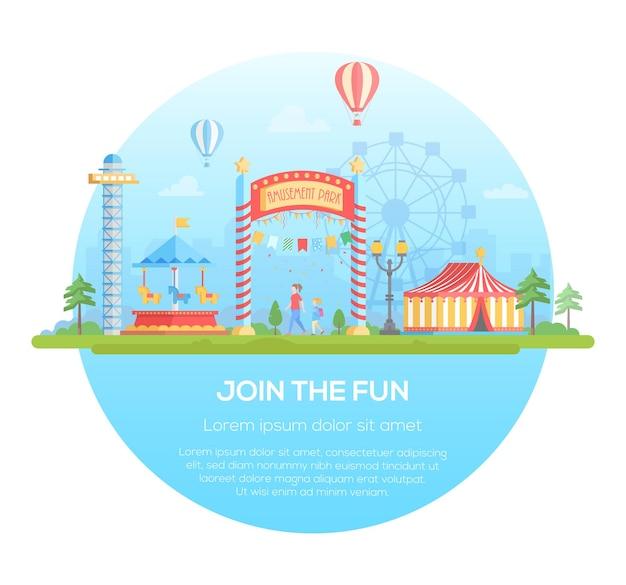 Unisciti al divertimento - illustrazione vettoriale di stile moderno design piatto in una cornice rotonda su sfondo urbano con posto per il testo. paesaggio urbano con attrazioni, circo, sagoma della grande ruota. concetto di intrattenimento