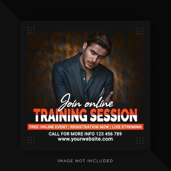 Partecipa alla sessione di webinar di formazione online e fai crescere le strategie aziendali banner instagram post sui social media
