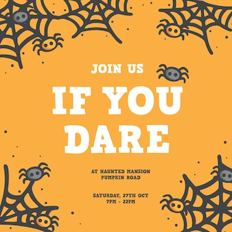 Unisciti a noi se hai il coraggio di poster / design dell'invito