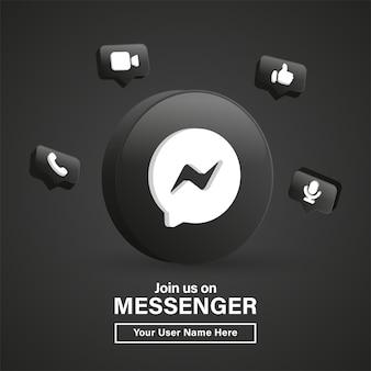 Unisciti a noi sul logo messenger 3d nel moderno cerchio nero per le icone dei social media o contattaci banner