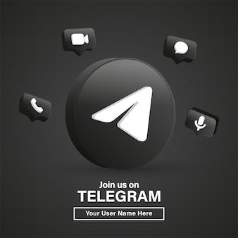Unisciti a noi sul logo telegram 3d nel moderno cerchio nero per le icone dei social media o contattaci banner