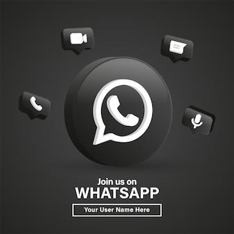 Unisciti a noi sul logo whatsapp 3d nel moderno cerchio nero per le icone dei social media o contattaci banner