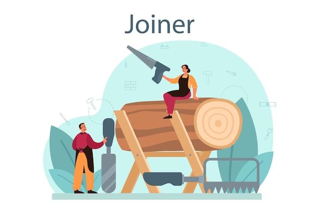 Illustrazione di concetto di jointer o falegname