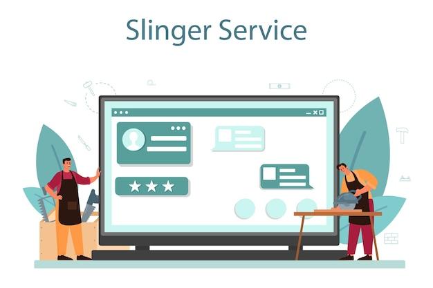Piattaforma o servizio online di falegname o falegname.