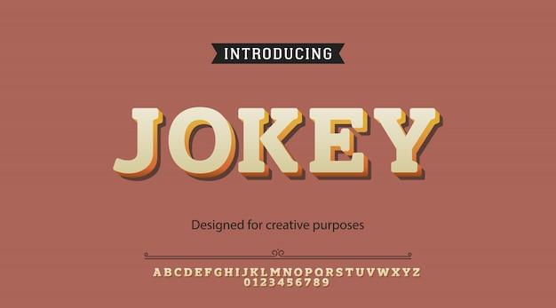 Alfabeto carattere di jokey
