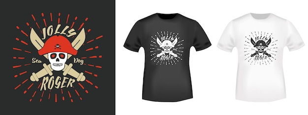 Jolly roger pirates t shirt stampa timbro