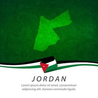Bandiera della giordania con mappa centrale