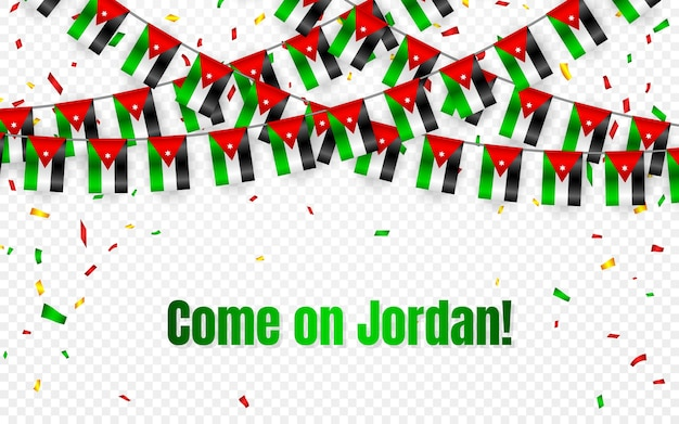 Bandiera della giordania ghirlanda con coriandoli su sfondo trasparente, appendere stamina per banner modello celebrazione,
