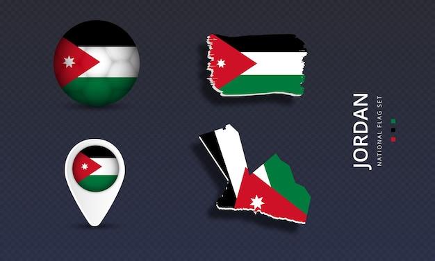 Set di bandiere nazionali dell'onda della giordania