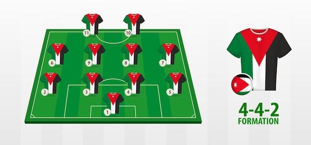 Formazione della squadra nazionale di calcio della giordania sul campo di calcio.