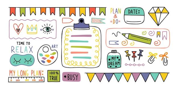 Rivista. elementi di diario carino nota. diario di proiettile di scarabocchi disegnati a mano