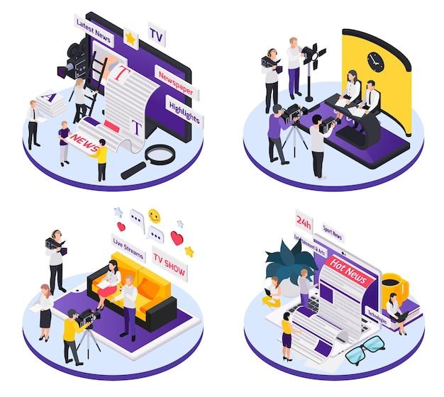 Set di illustrazioni isometriche per giornalismo e mass media