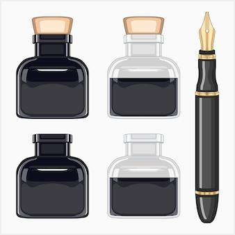 Materiale per la scrittura giornalistica penna e inchiostro