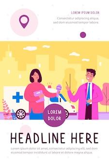 Giornalista intervistando reporter medico con microfono, ambulanza, reportage illustrazione piatta