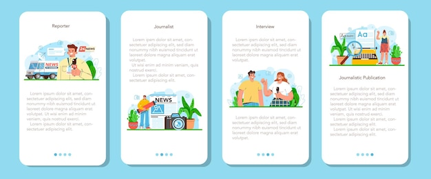 Set di banner per applicazioni mobili per giornalisti giornali internet e radio