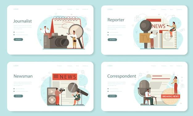 Banner web giornalista o set di pagine di destinazione. reporter televisivo con