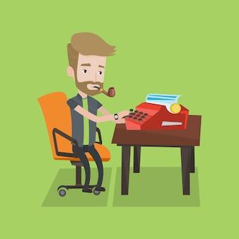 Giornalista che lavora alla macchina da scrivere retrò.