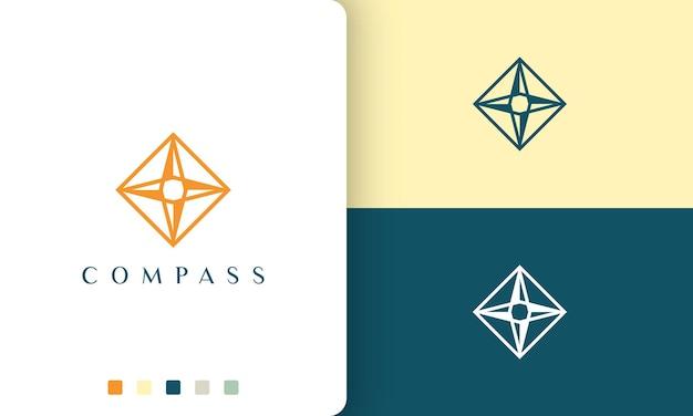 Viaggio o avventura logo disegno vettoriale con forma di bussola semplice e moderna